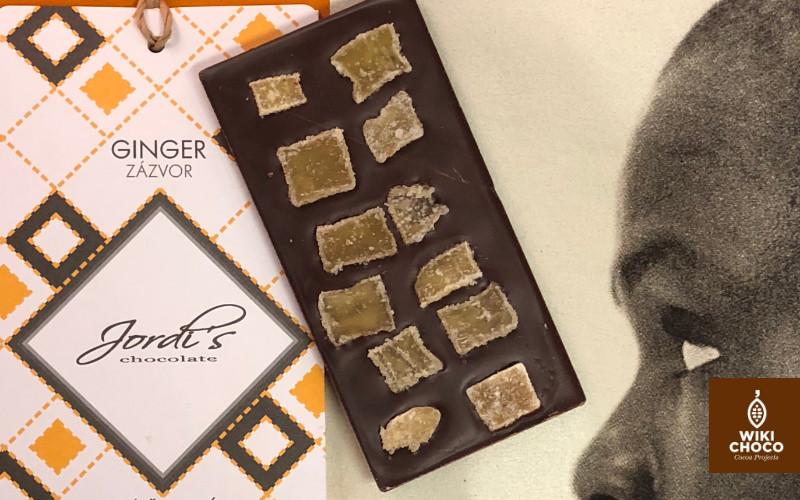 Jengibre y chocolate oscuro de la marca jordis chocolate