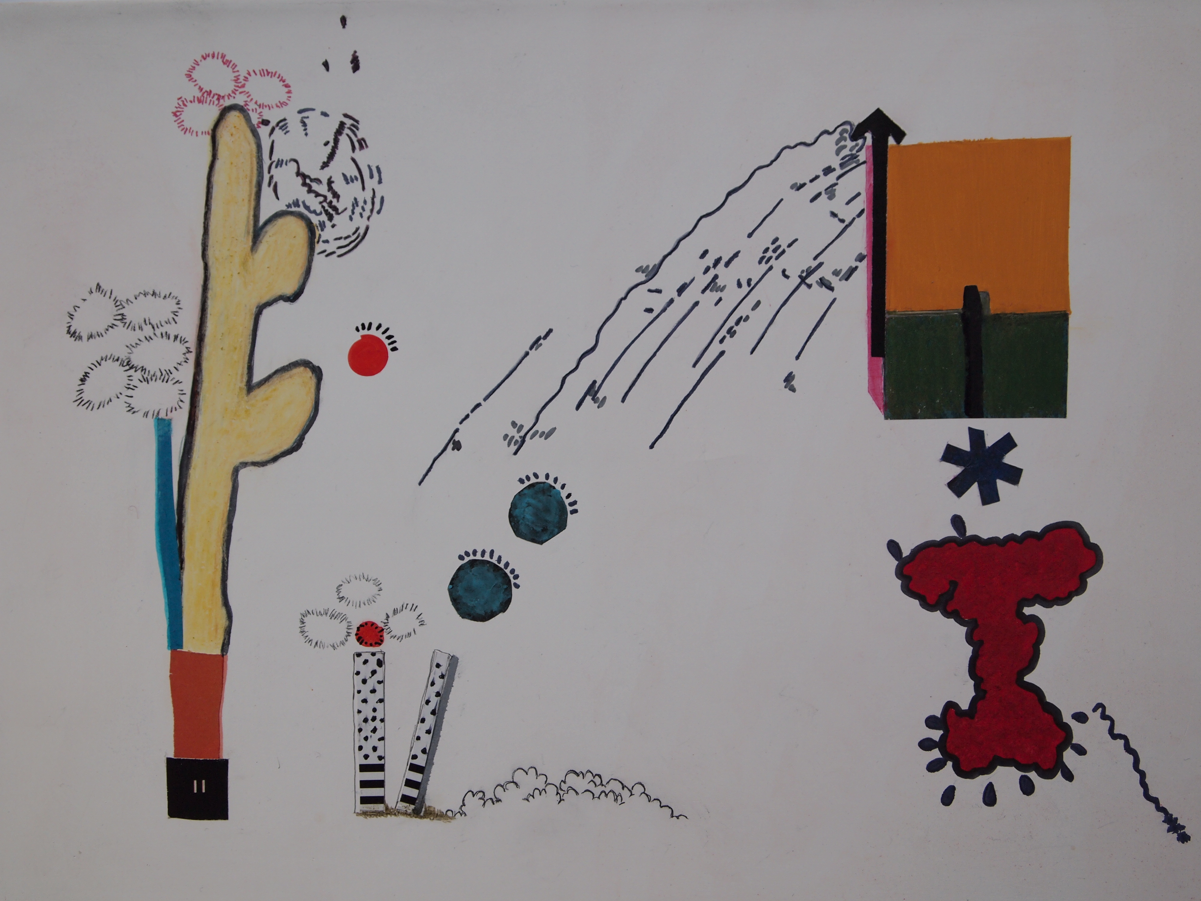 Eirini Boukla, Untitled, 2018. Ink, pastels, gouache, collage on gesso on canvas. 23x30x3,5