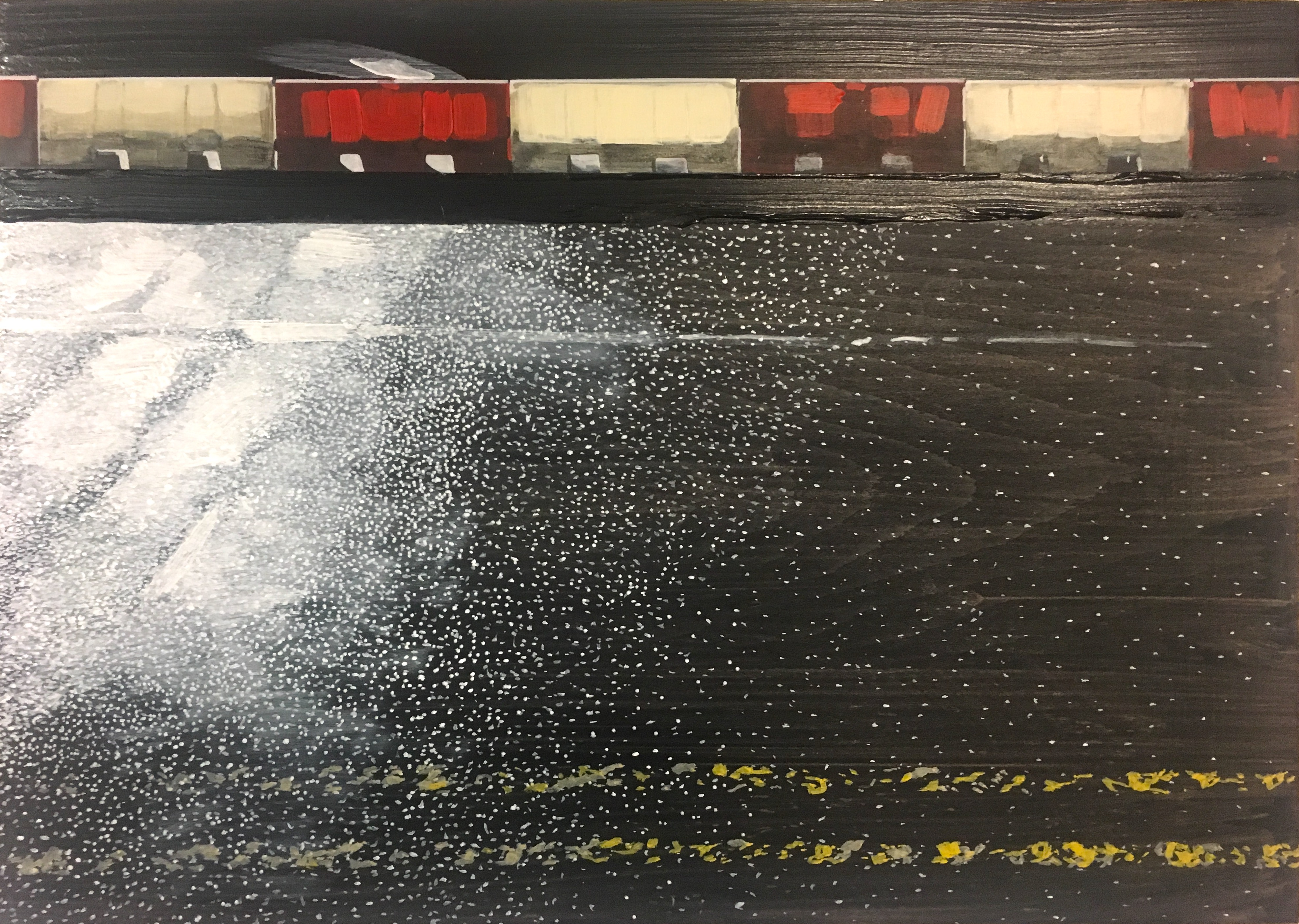 Narbi Price. 2017. Untitled Road Painting (Portland Park), Acrylic on Board. 50x70cm