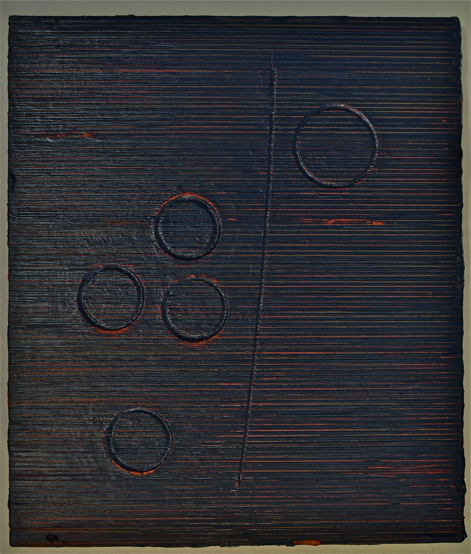 David Ainley 2015. MINED (ONE VEIN, FIVE SHAFTS & RED GROUND). Acrylic on cut-through and drilled pa