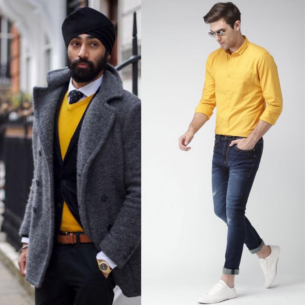 Men in Yellow sweatshirt and shirt