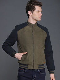 Men Wrogn Olive Green & Navy Blue Solid Bomber