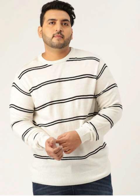 Plus-size men in cream horizontal stripe t-shirt