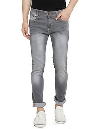 Men's Grey Regular Fit Jeans