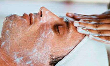 Men having a facial