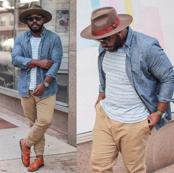 Plus-size men looking stylish in horizontal stripe tees and beige pants