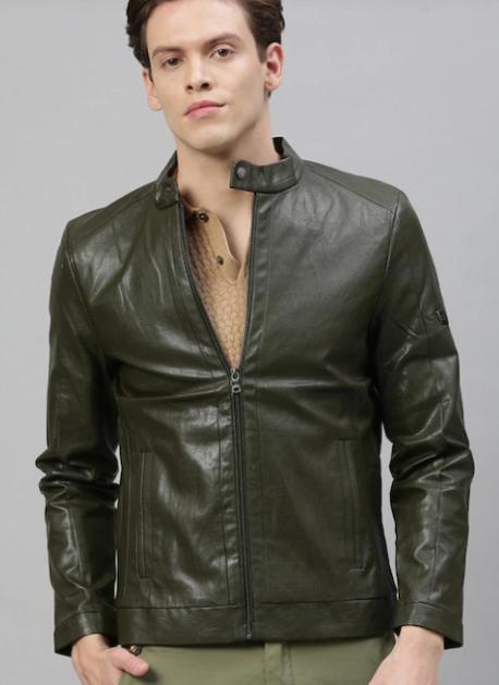 Men's Olive Leather Jacket