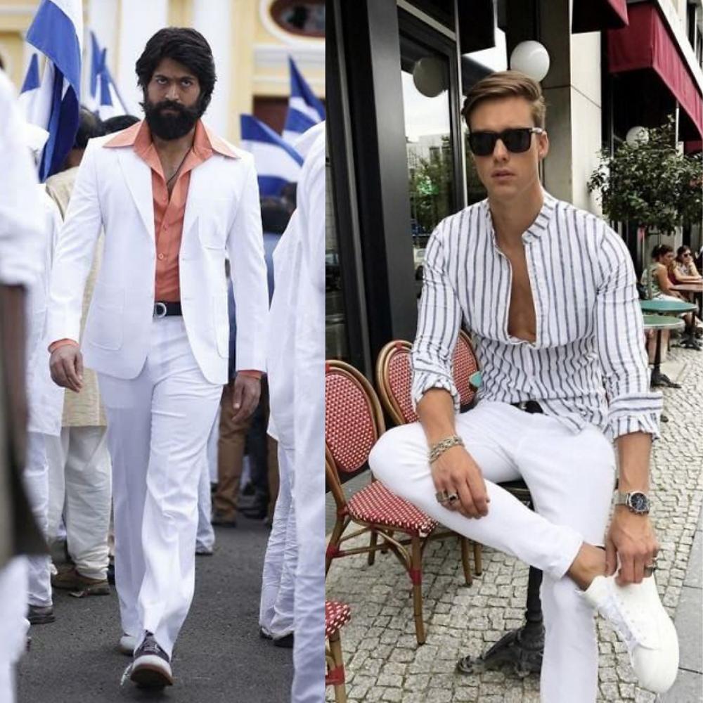 Yash wearing white suit