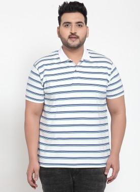 Plus-size men in horizontal strip t-shirt
