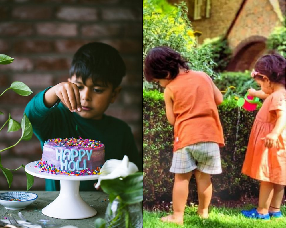Kids baking a cake and watering the plants