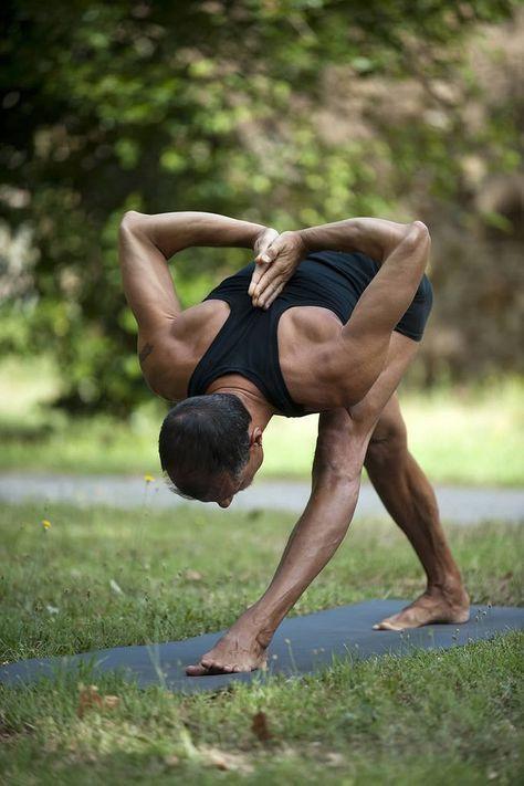 Man doing a tough pose during workout