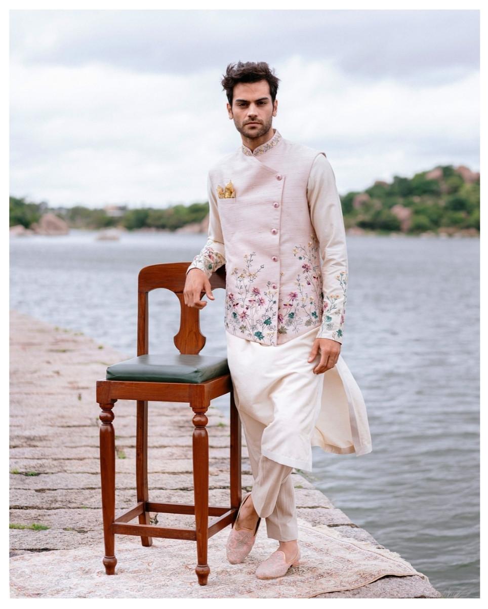 Men in Floral Bandh Gala Nehru Jacket