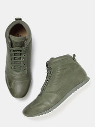 Men Royal Enfield Olive Green Solid Leather Mid-Top Sneakers