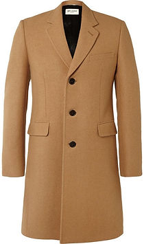 H&M Men Beige Solid Longline Wool-Blend Coat