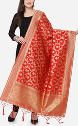 Red & Gold-Coloured Woven Jacquard Banarasi Dupatta