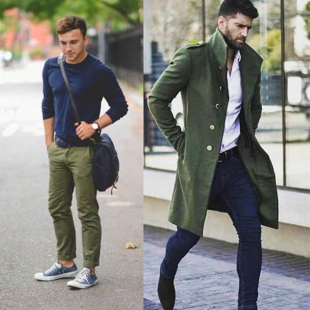 Men in Olive pants and jackets