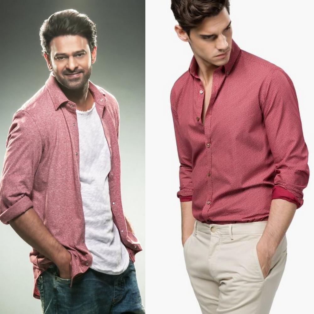 Prabhas wearing Pink Shirt