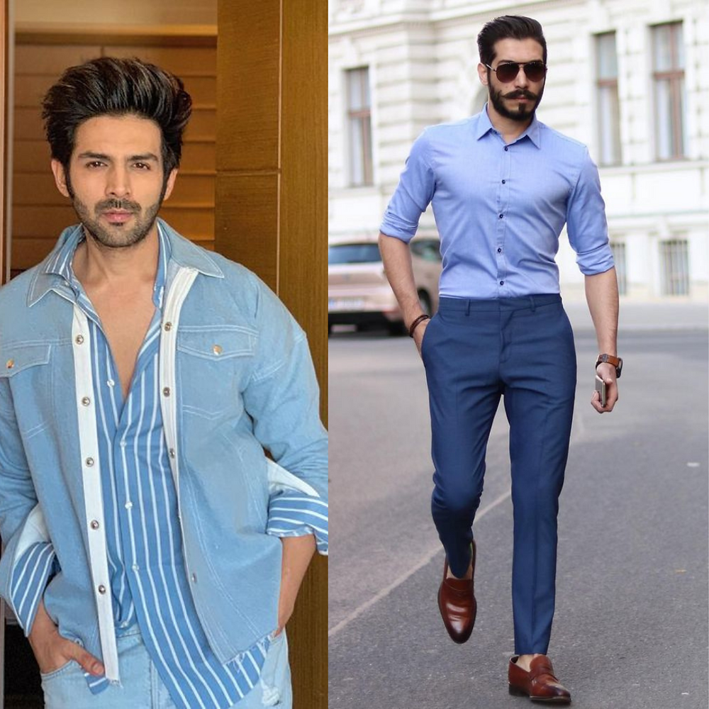 Karthik Aryan in blue denim jacket