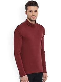 Men Maroon Solid Pullover