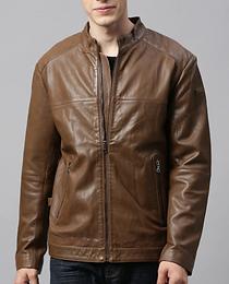 Rare Rabbit Men Brown Solid Insulator Leather Jacket