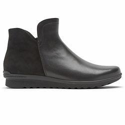 Men Black Leather Flat Boots