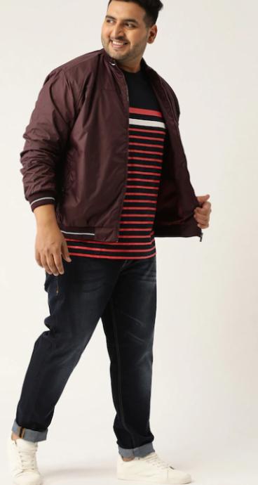 Plus-size men in horizontal stripes burgundy t-shirt with jacket