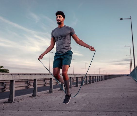 Man doing skipping exercise