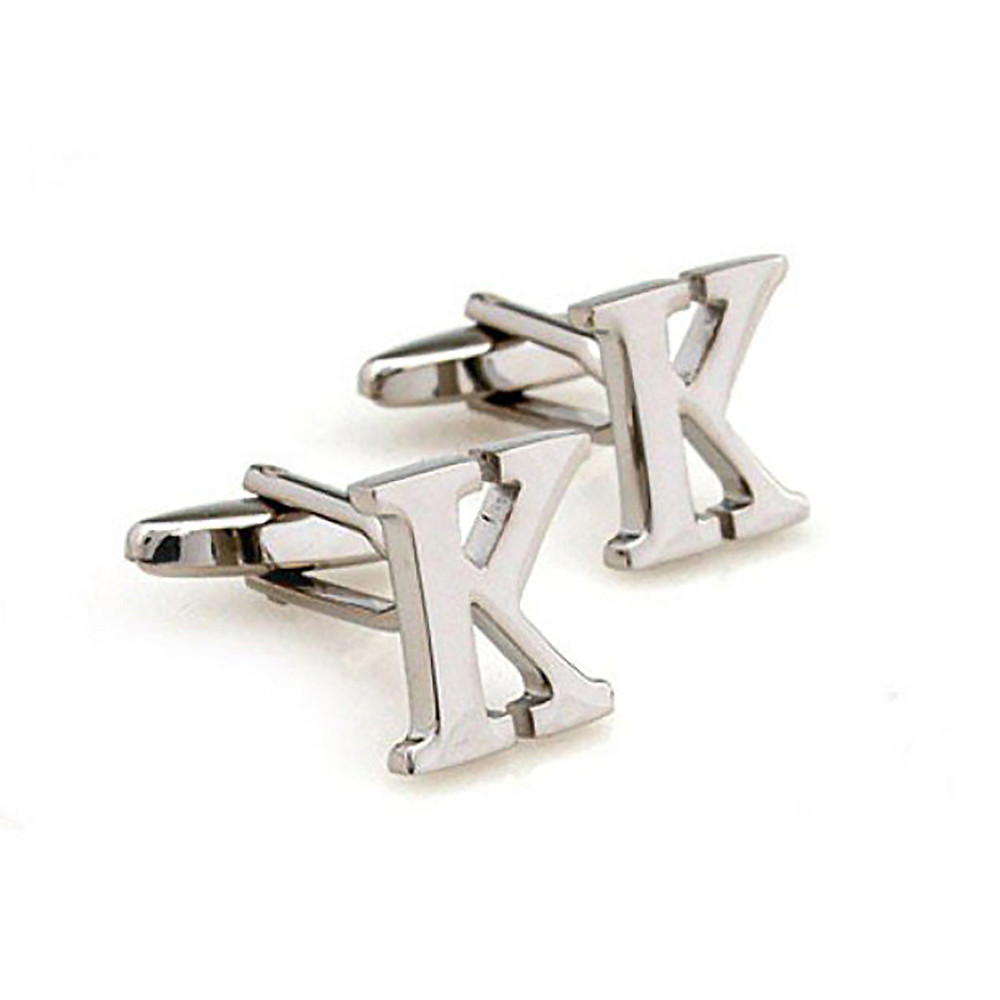 Silver Copper Letter K Cufflinks for Men