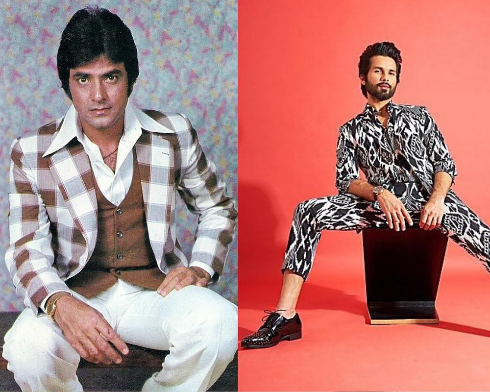 Jeetendra and Shahid Kapoor in prints