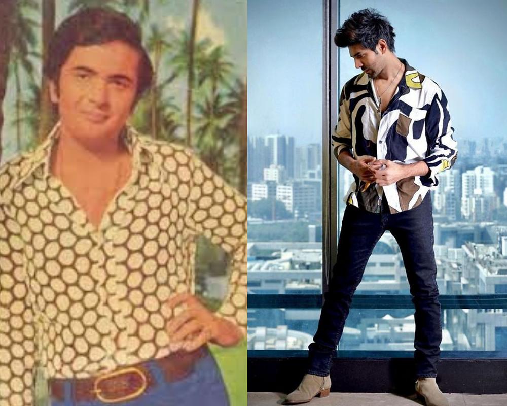 Rishi Kapoor and Karthik Aryan in a printed shirt
