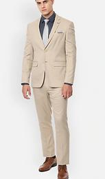 Louis Phillippe Men Beige Checked Slim Fit Formal Suit