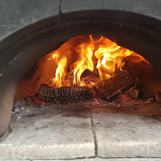 Wood oven fire