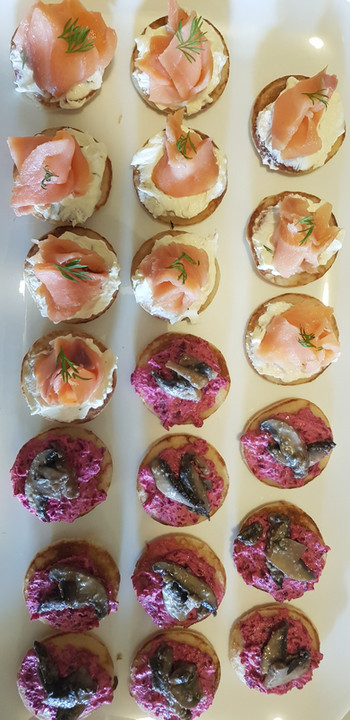 smoked salmon and beetroot blinis