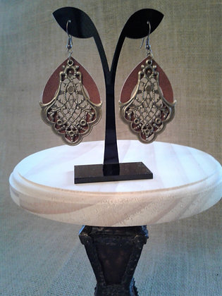 Antique Bronze and Brown Suede earrings