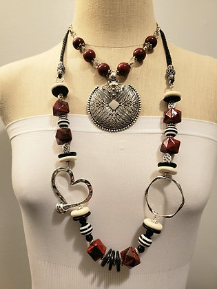 Red black and white 2 necklace set