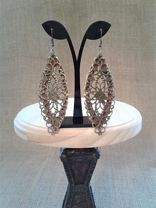 Long Atique Bronze and brown suede Earrings
