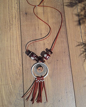 Burgundy leather cord Necklace with wood and bone beads and matching earrings
