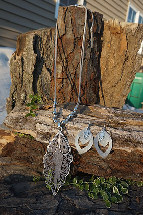 Handmade Antique Boho Chic Silver leaf pendant Necklace and leather earrings set
