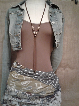 Brown slim Long Necklace
