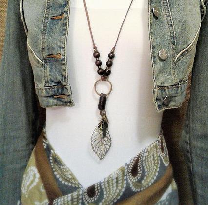 Handmade Antique Bronze Boho Chic leaf Pendant Necklace