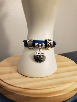 Blue and black leather bracelet with magnetic clasp closure.
