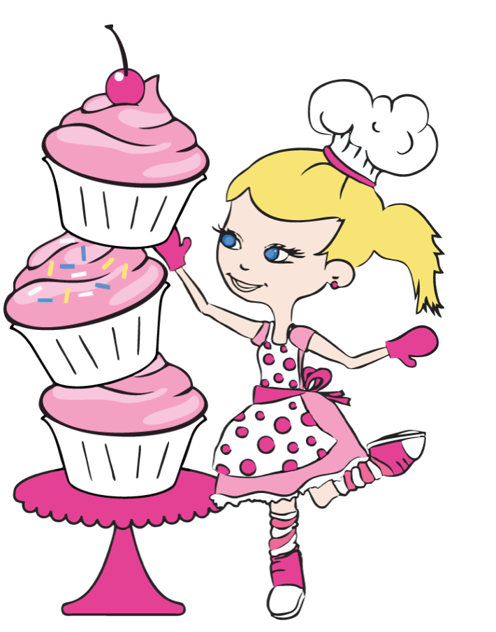 Our logo is an animated drawing of Cristina.  The 3 cupcakes & 21 polkadots on her apron pay tribute to Trisomy 21 (Down syndrome)
