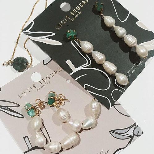 Aretes esmeralda perlas