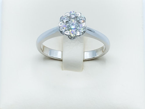 Alianza de Diamantes y Oro Blanco. 18K