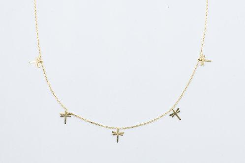 Gargantilla de Libélulas. Oro Amarillo