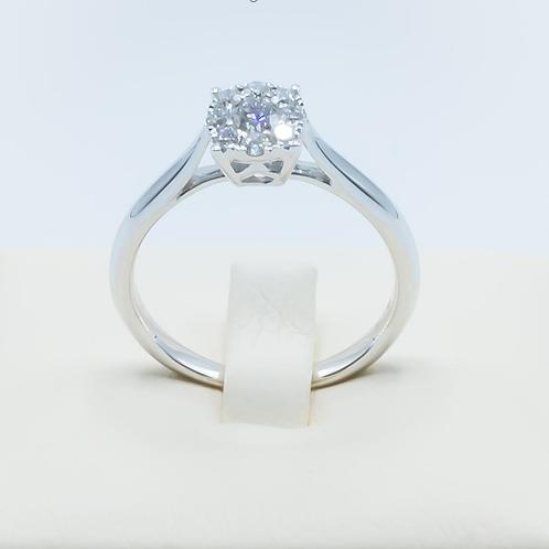 Anillo de Diamantes y Oro Blanco 18 K