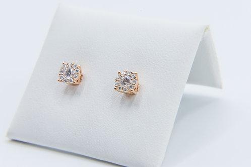 Pendientes de talla Brillante. Oro Rosa y Diamantes
