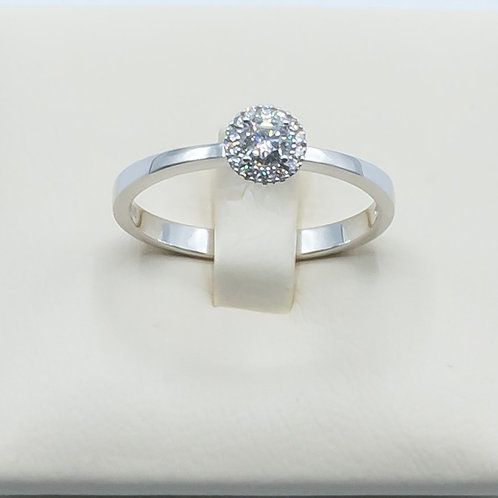 Alianza de Diamantes y Oro Blanco 18K