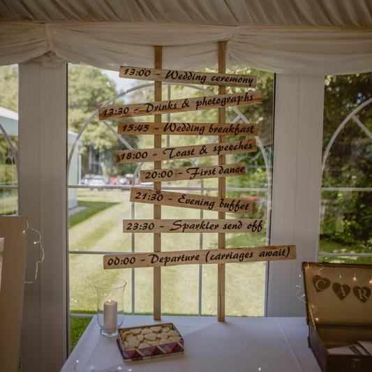Wedding timings sign - handmade