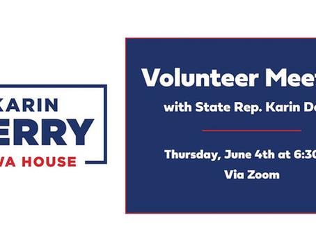 Volunteer Meeting via Zoom, June 4, 6:30pm